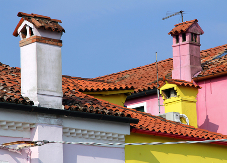 Roofs of colorful houses, Burano island, Italy