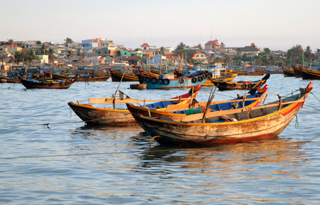 ne: Fishing boats in the bay of Mui Ne, Vietnam Stock Photo