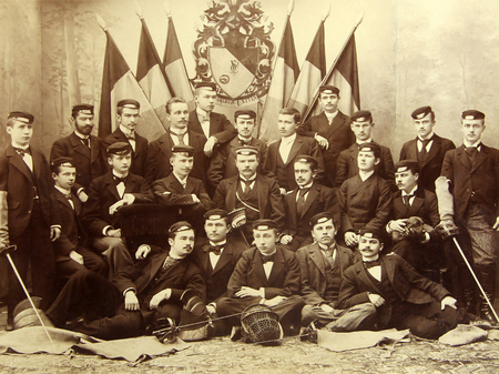 RIGA, LATVIA - CIRCA 1907: Graduates of the Riga Polytechnical Institute, the oldest technical university in the Baltics established on October 14, 1862 (in 1990, it was renamed to Riga Technical University) Editorial