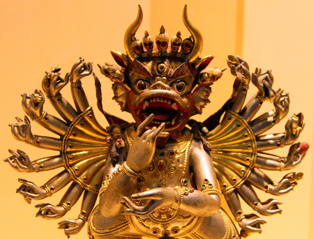 St. PETERSBURG, RUSSIA - JUL 4, 2014: Bronze Tibetan statue of 19th century in Museum of History of Religion. This is Vajrabhairava, buddhist patron of Gelugpa shcool in Tibetan buddhism Editorial