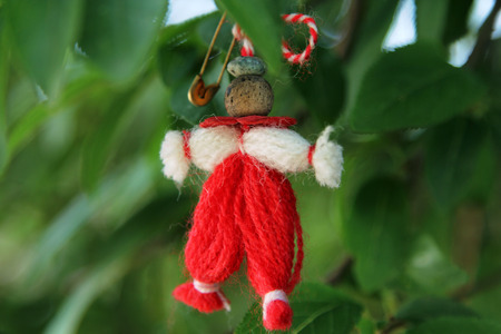 Typical Martenitsa, traditional gift in Bulgaria and some other countries on 1st day of spring, during Martisor celebration (at the photo - Pizho, the male doll)
