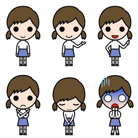 Icon-style character - Various poses of girl with pigtails (stand, presentation, proposal, ban, bow, shock)