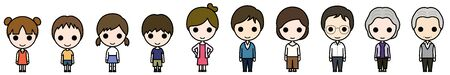 Icon-style character - Men and women in casual wear of common generations (family)