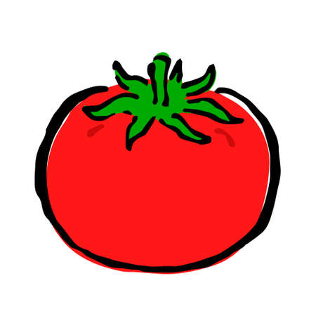Illustration of Tomato: Illustration like hand drawn illustration with ink and brush Ilustración de vector