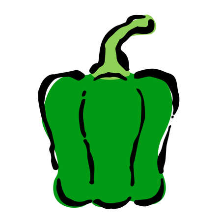 Illustration of Green pepper: Illustration like hand drawn illustration with ink and brush