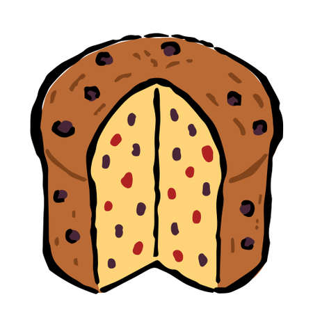 Illustration of Panettone: Illustration like hand drawn illustration with ink and brush