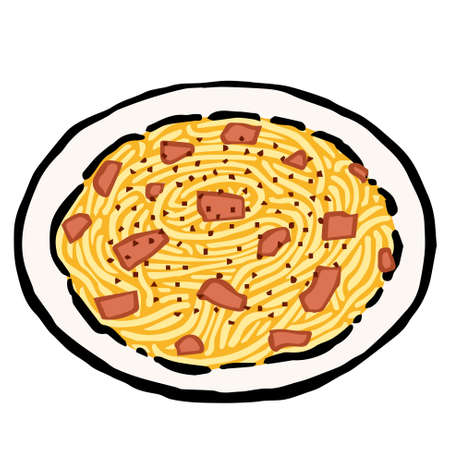 Illustration of Spaghetti alla Carbonara: Illustration like woodblock print