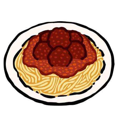 Illustration of Spaghetti and Meatballs: Illustration like woodblock print