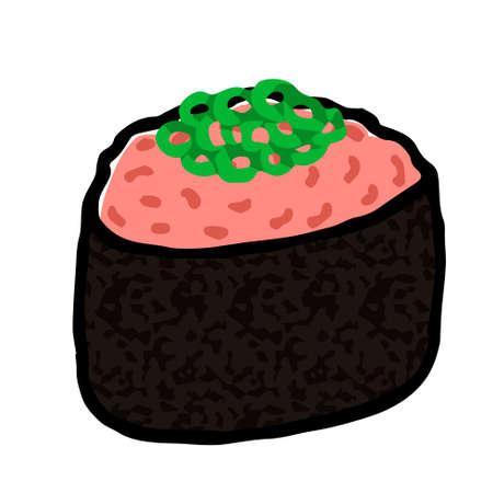 Illustration of Negitoro Sushi: Illustration like woodblock print