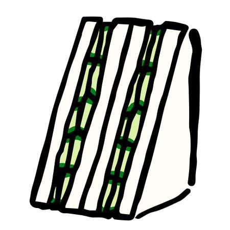 Illustration of Japanese Cucumber Sandwich: Hand drawn vector illustration like woodblock print  イラスト・ベクター素材