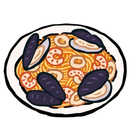 Illustration of Spaghetti al mare: Hand drawn vector illustration like woodblock print