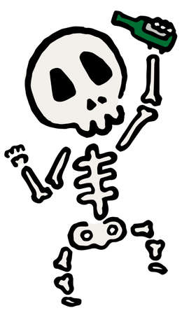 Drunk Skeleton : Hand drawn vector illustration like woodblock print 向量圖像
