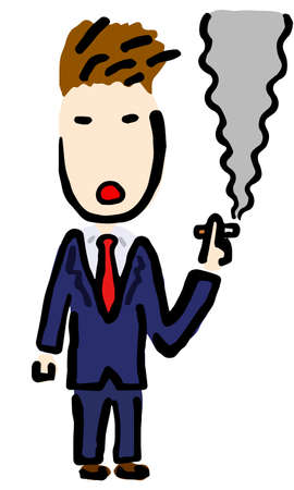 Smoking Businessman : Hand drawn vector illustration like woodblock print Stock fotó - 157413966