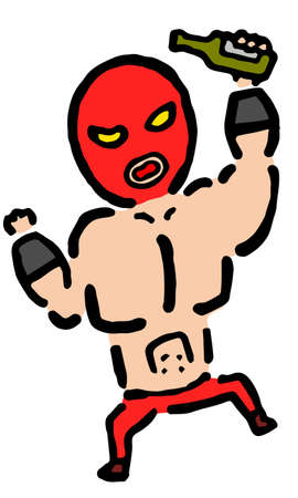 Drunk Wrestler  : Hand drawn vector illustration like woodblock print