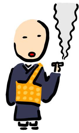 Smoking Japanese Buddhist Priest : Hand drawn vector illustration like woodblock print