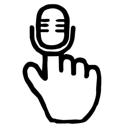 Hand Cursor016 (Microphone) : Doodle Icon: Hand drawn vector Icon like woodblock print