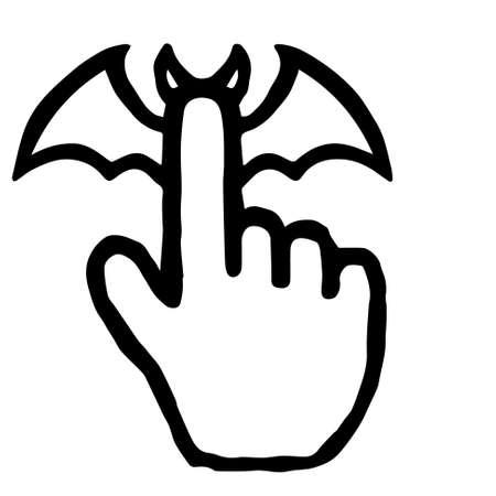 Hand Cursor041 (Bat) : Doodle Icon: Hand drawn vector Icon like woodblock print