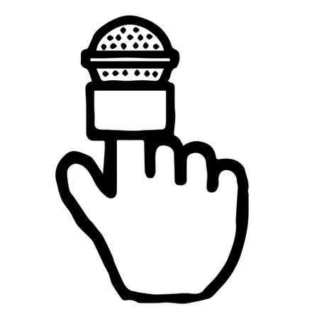 Hand Cursor078 (Microphone2): Doodle Icon: Hand drawn vector Icon like woodblock print
