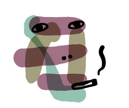 Smoking : Abstract illustration  like woodblock print Illusztráció