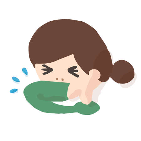 Woman Cowing Into Elbow; Hand drawn vector illustration like woodblock print