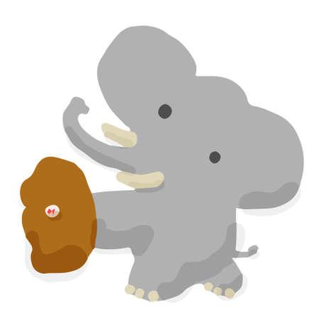 Baseball Catch06 Elephant; Hand drawn vector illustrator like woodblock print