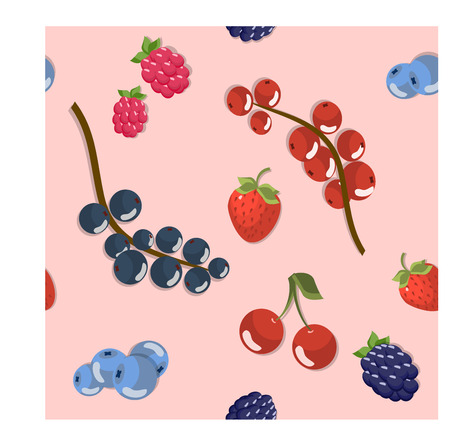 Seamless pattern with beautiful set of berries.