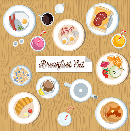 eat cartoon: Beautiful breakfast set. Cute flat eggs with bacon, sausages, mushrooms and peas. Bread with cheese and ham. Cereal with blueberry. Fruit bowl with orange, strawberry and raspberry.Croissant