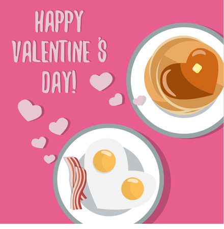 dinner date: Romantic breakfast. Beautiful flat card for Valentine Day. Heart shaped fried eggs and pancakes with heart syrup. Cooking together