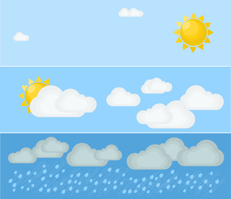 weather report: Different types of weather. Day and summer. Flat illustration. Symbols and icons of weather topic. Illustration