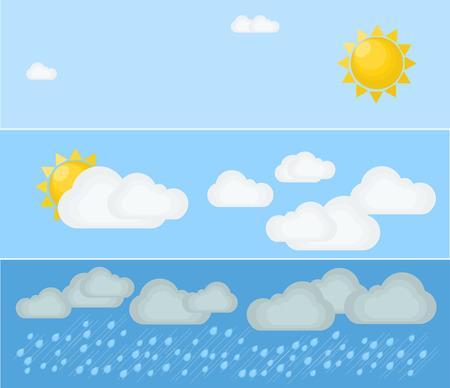 meteo: Diversi tipi di tempo. Giorno e l'estate. illustrazione piatta. Simboli e icone del tema del tempo. Vettoriali