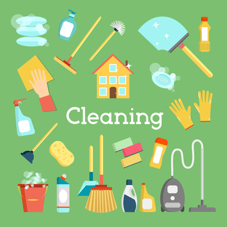 printed material: Household supplies and house cleaning flat icons collection. Minimal graphics set. Flat design concept for web site, printed material, infographics, banners. Illustration