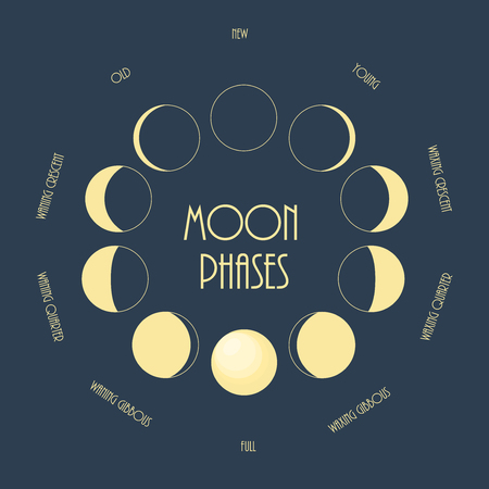 moon phases: Six moon phases. Minimal flat illustration.