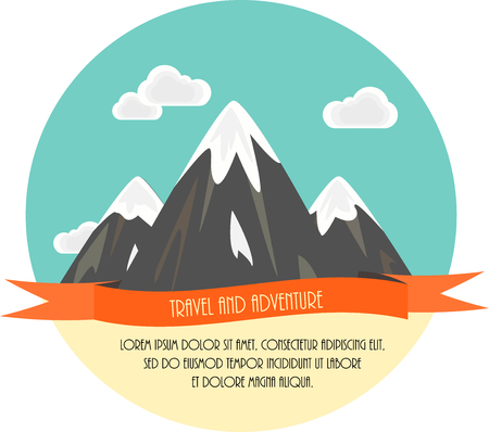 Travel and adventure. minimal flat illustration. Mountains and clouds.