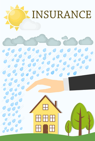 storm rain: Insurance concept. House with trees, storm, rain and the Sun. Illustration