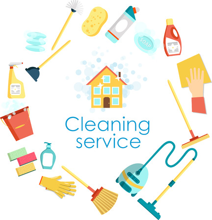 flier: Concept of cleaning service. Flat set of cleaning tools and household supplies. Minimal graphics for web site, poster, banner, flier or print.