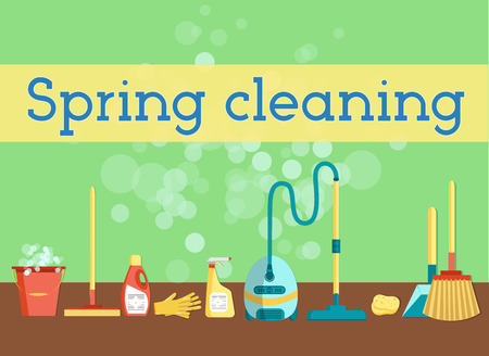 spring cleaning: Spring cleaning minimal and colorful flat graphics for web site, poster,or print. Set of cleaning tools and household supplies. Illustration