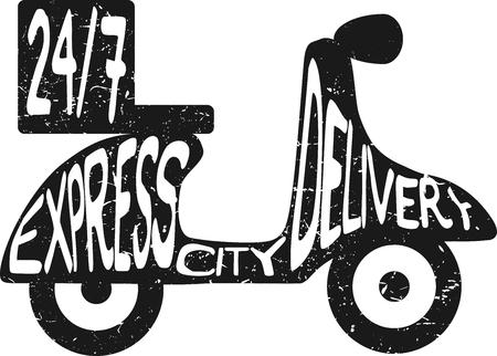 scooter: Scooter expresar ilustraci�n entrega de la ciudad. Icono para el servicio de entrega. M�nimo ilustraci�n plana negro Vectores