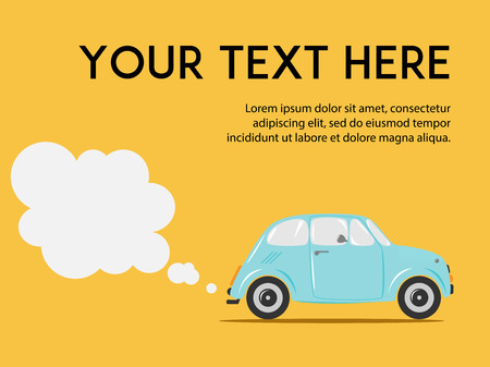 air awareness: Stylish Italian car with exhaust on the yellow background. Copy space. Cute flat vector illustration for web or print