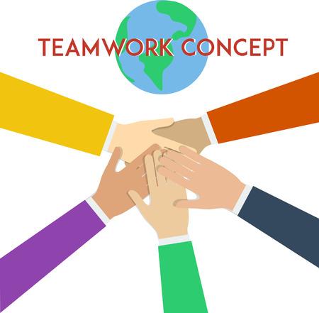 manos unidas: concepto de trabajo en equipo. ilustración vectorial plana mínima.