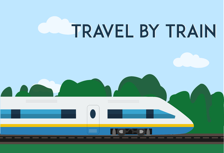 highspeed: Travel by train poster. Minimal flat vector illustration for web or print.