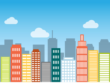 skylines: Minimal flat design modern vector illustration. Set of urban landscape, buildings and city life. Skylines in the daytime. Real estate background concept icon template for web or print