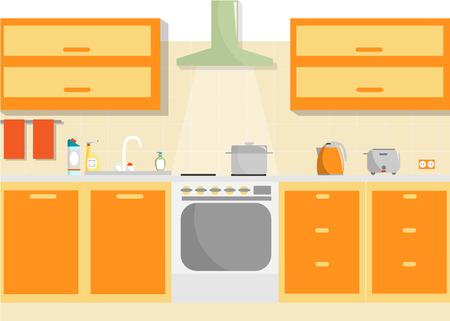 kitchen furniture: Kitchen vector interior with furniture and household supplies. Flat minimal illustration. Illustration