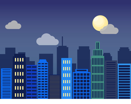 world trade center: Minimal flat design modern vector illustration. Set of urban landscape, buildings and city life. Skylines in the nighttime. Real estate background concept icon template for web or print Illustration