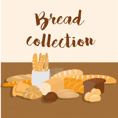 pita bread: Different kinds of bread set for menu. Collection of pastry items on wooden table for print or web. Pastry shop