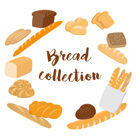 wholemeal: Different kinds of bread set for cafe menu. Collection of pastry or bakery items isolated on white for print or web. Cartoon bread. Frame of buns and bread with copy space for text. Packing