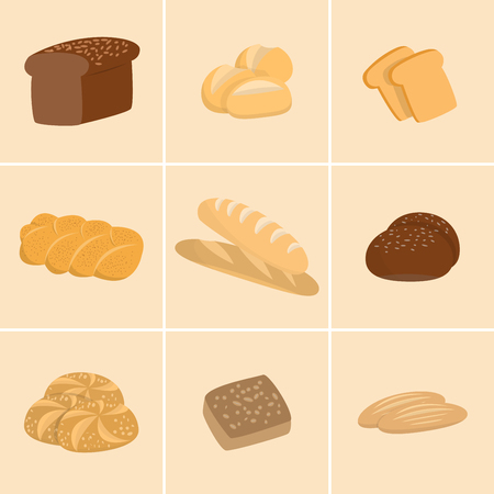 kinds: Different kinds of bread set. Collection of isolated pastry items top view for print or web. Bakery shop menu.