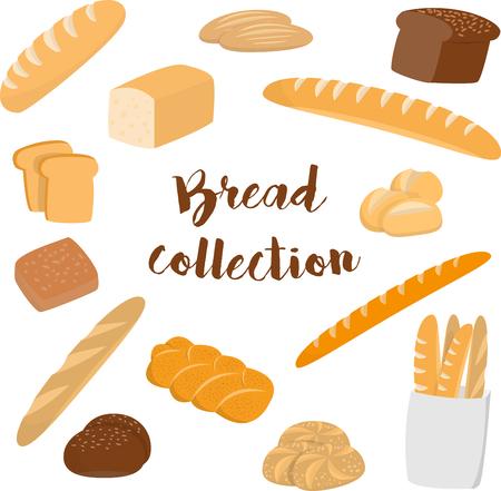 Diferentes tipos de pan aislados en blanco. Colección de vector plano de artículos de panadería para impresión o web.