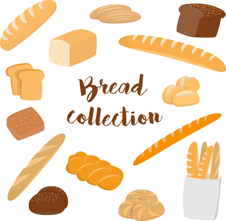 bread roll: Different kinds of bread isolated on white. Flat vector collection of bakery items for print or web.