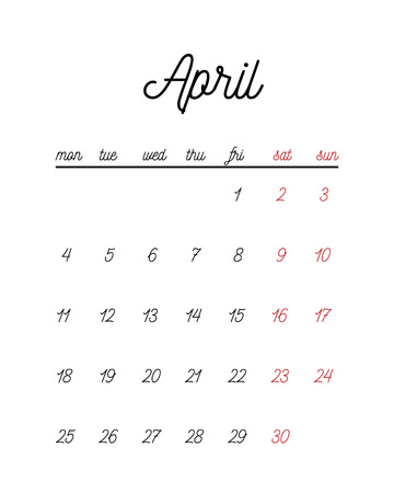 thursday: Minimal cute calendar template. Vector illustration for print or web.