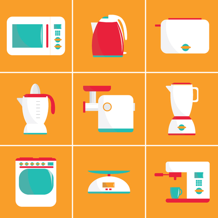 coffee blender: Set of flat vector kitchen appliances. Microwave, electric kettle, toaster, blender, meat grinder, juicer, oven, scales, coffee machine or espresso machine, maker. For print or web.Shopping cooking Illustration
